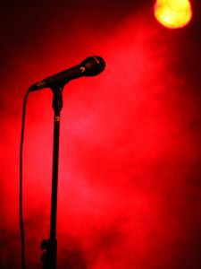 Concert Stage Microphone Spotlight