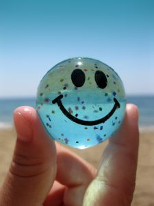 Smile Clear Smiley Face Ball Beach Ocean Sand
